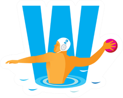 Letter W Water Polo Illustration Sticker