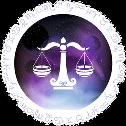 Libra Zodiac Sign Dark Sky Sticker