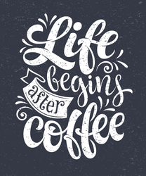 Life Begins After Coffee Hand-drawn Lettering Sticker