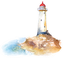 Lighthouse And Seascape Watercolor Illustration Sticker