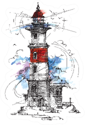 Lighthouse By The Sea Architecture Sticker