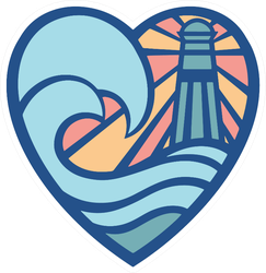 Lighthouse Colorful Heart Sticker