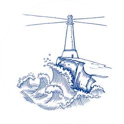 Lighthouse On Cliff In Stormy Weather Illustration Sticker