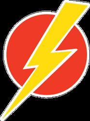 Lightning Bolt On Red Circle Sticker