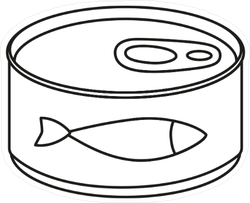 Line Art Black And White Canned Fish Sticker