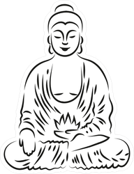Line Art Buddha Sketch Sticker