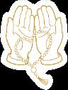 Line Art  Illustration Open Hands Prayer Sticker