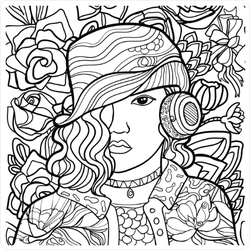 Line Art Illustration Woman with Headphones Sticker