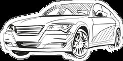 Line Art Sedan Car Sticker