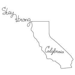 Line Art With California State And Lettering Sticker