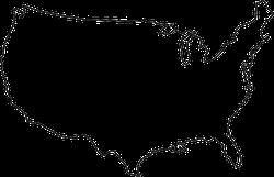 Line Map Of USA Sticker