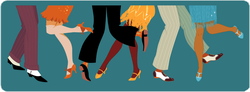 Line Of Men And Women Legs Dancing Sticker