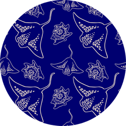 Linear Stingray On Navy Blue Backdrop Pattern Sticker