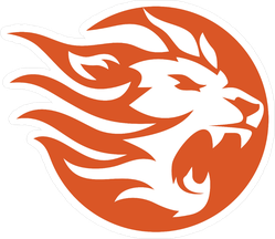 Lion Fire Circle Sticker