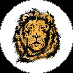 Lion Head Stencil Circle Sticker