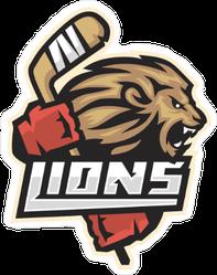 Lion Hockey Emblem Sticker