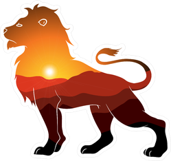 Lion Silhouette With Landscape Double Exposure Sticker
