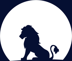 Lion Sitting On A Rock Looking At The Moon Sticker