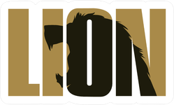 Lion Text with Roaring Lion Inside Letters Sticker