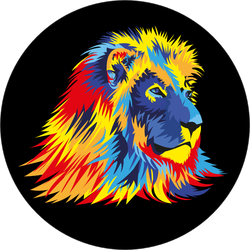 Lion With Bright Colors Sticker