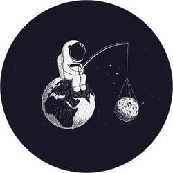 Little Astronaut Fishing for the Moon Sticker