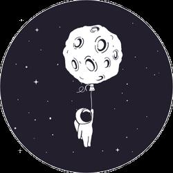 Little Astronaut with Moon Balloon Sticker