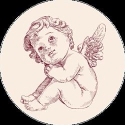 Little Baby Angel Or Cupid Sketch Sticker