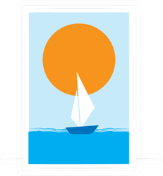 Little Boat Sailing In The Sea Abstract Art Sticker