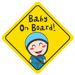 Little Boy Driving Baby On Board Sticker