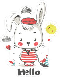 Little Bunny Sailor Baby Sticker