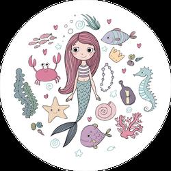 Little Cute Cartoon Mermaid With Sea Creatures Sticker