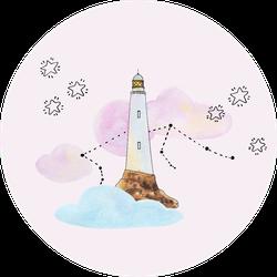 Little Dreamer Watercolor Illustrations Of Lighthouse Sticker
