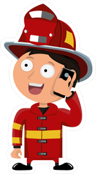 Little Funny Firefighter Sticker