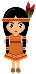 Little Girl in American Indian Dress Sticker