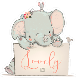 Little Lovely Elephant Sticker