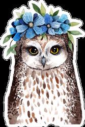 Little Owl With Wreath Of Flowers Sticker