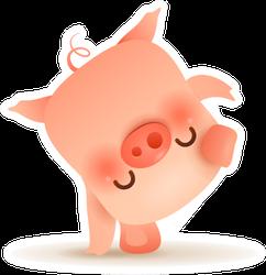 Little Pig Doing Cartwheel Sticker