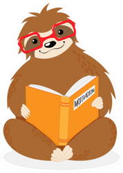 Little Sitting Sloth In Red Glasses Reading Sticker