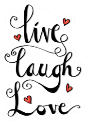 Live, Laugh, Love Card With Hearts Sticker
