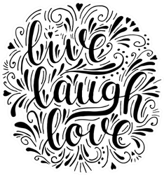 Live Laugh Love In Artistic Style Sticker