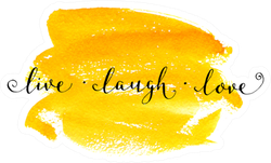 'live Laugh Love' Lettering Calligraphy On Yellow Watercolor Sticker