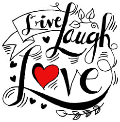Live, Laugh, Love Postcard With Red Heart Sticker