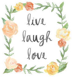 Live Laugh Love Quote With Watercolor Peony Wreath Sticker