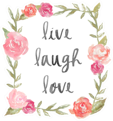 Live Laugh Love Quote With Watercolor Pink Peony Sticker