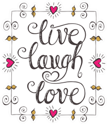 Live Laugh Love Text In Romantic Frame Sticker