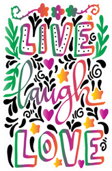 Live, Laugh, Love With Floral Doodle Sticker