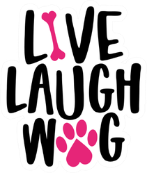 Live Laugh Wag - Words With Dog Footprint Sticker