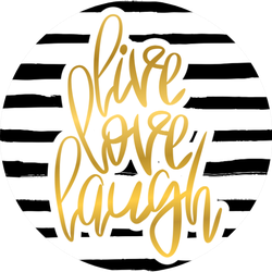 Live Love Laugh Gold On Stripes Sticker