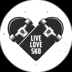 Live Love Skate Quote Sticker