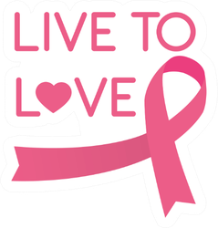 Live To Love Cancer Ribbon Pink Style Sticker